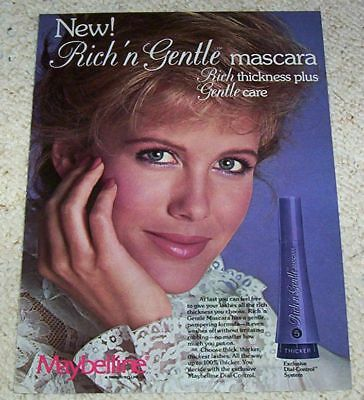1982 vintage ad page - Maybelline Cosmetics CUTE GIRL make-up PRINT AD
