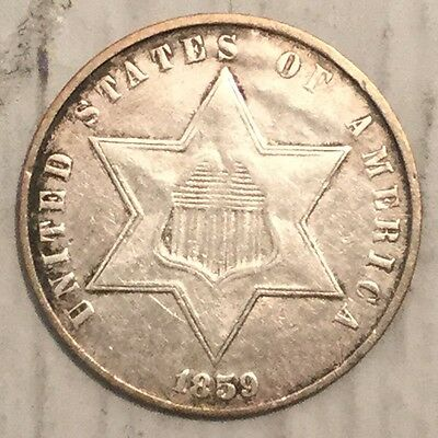 1859 3C Three Cent Silver XF+