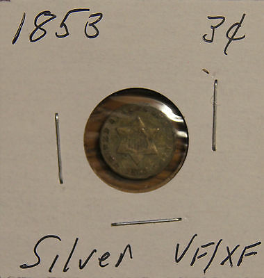 "1853 - 3 Cent ""silver"" Coin- Vf To Xf (Very Fine To Extremely Fine)"