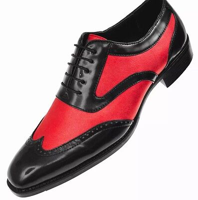 61a5a29ec069 Mens Sio Two Tone Classic Shiny Red Metallic Black Smooth Wingtip Oxford  Shoes