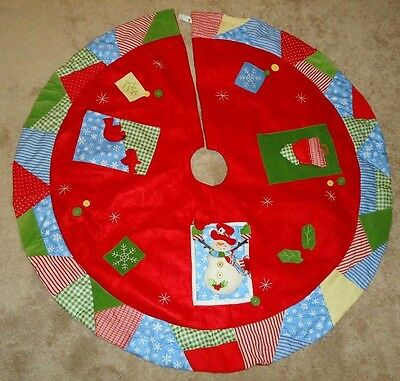 """COUNTRY PATCHWORK Christmas Tree Skirt 48"""" w/Snowman & Cardinals Home Interiors"""