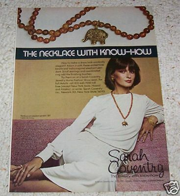 1976 print ad - Sarah Coventry fashion Jewelry elephant VINTAGE AD