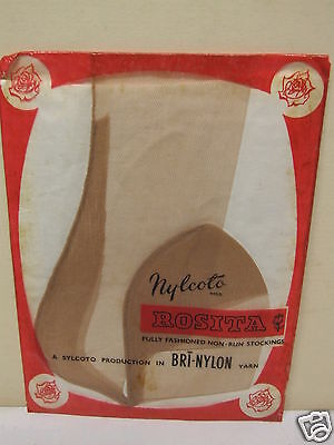 vintage ladies stockings ROSITA 1940S SEAMED 8 1/2 Bri-Nylon