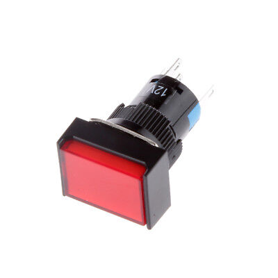 DC 12V 16mm Push Button Self-Lock Latching Square Switch Red LED Light