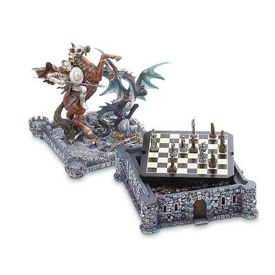 Dragon and Knight Chess Set Castle Storage Box