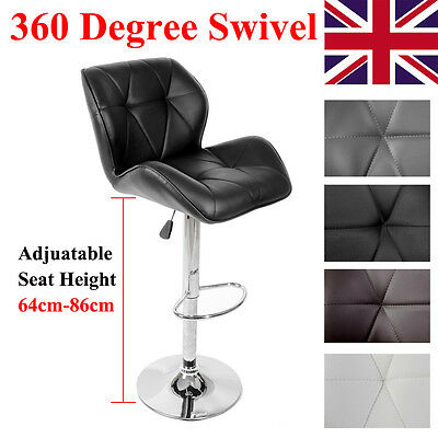 Faux Leather Kitchen Breakfast Swivel Chrome Bar Stools Chair Pub Stool Footrest