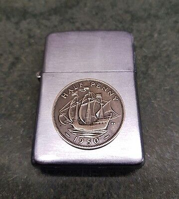 1950 zippo pat 2032695 with 1950 half penny rare great condition