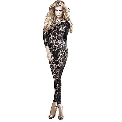 New Adult toys Long Sleeve All Over Lace Bodystocking Black