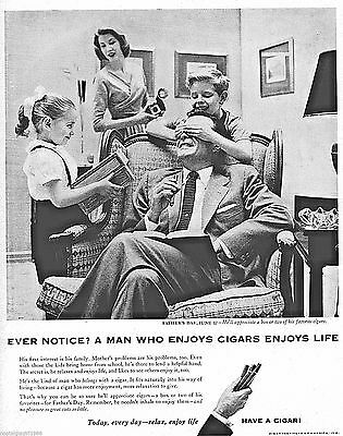 "1956 Ad Cigar Institute of America Father's Day Family Print Advert 10.5"" x 14"""