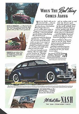 1939 Ad Nash Automobile Car 4 Door Sedan Art Moonlight Desert Road Print Ad Page
