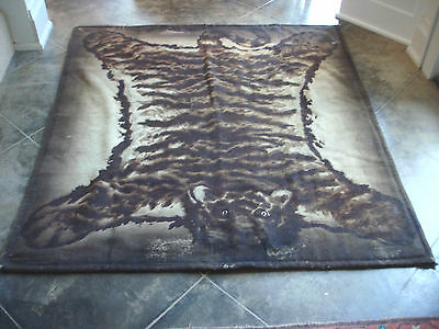 Vintage CHASE TIGER Horse hair Buggy Sled BLANKET Carriage Lap Robe EUC