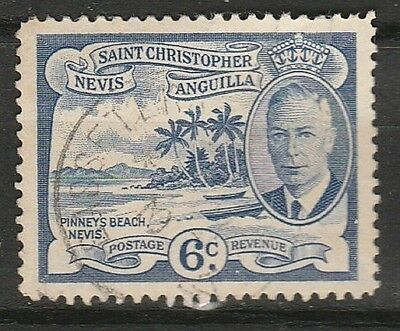 1952 ST. KITTS & NEVIS 6c DEFINITIVE. SG 99 F/USED