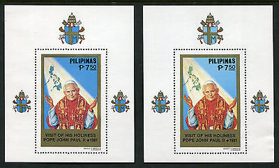 1981 Philippines.  Papal Visit.  2 x Mini Sheets (Blue Map & Green Map). MS1648.