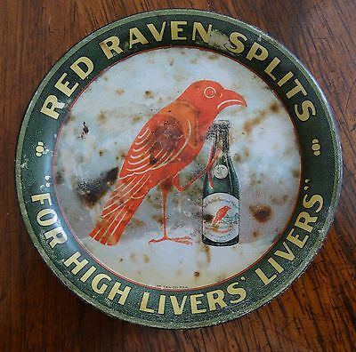 Red Raven Splits for High Livers' Livers Tin Tip Tray Advertising Specialty