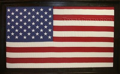 Extra Large US 3 x 5 Foot American Flag Framed in Dark Stained Reclaimed Wood