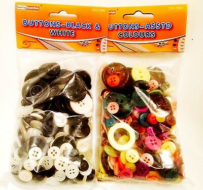 Pack Of 2 Buttons, Colourful And Black & White