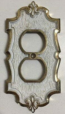 Vintage Hall Mack Ornate Decorative White & Gold Brass Outlet Cover Plate