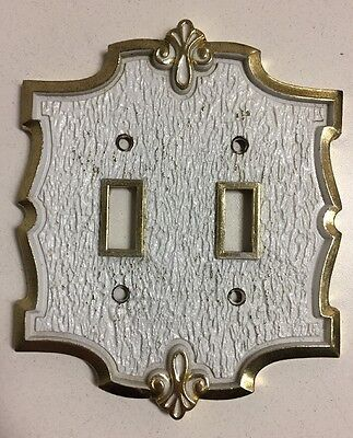 Vintage Hall Mack Ornate White & Gold Brass Double Light Switch Cover Plate