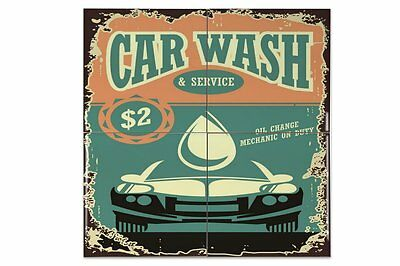Tiles Vintage Car car wash Ceramic Print 4.4x4.4""