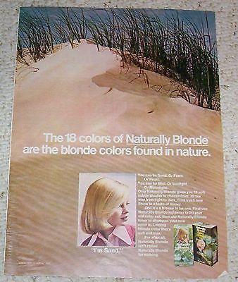 1975 vintage ad - Clairol Naturally Blonde hair color sand PRINT AD