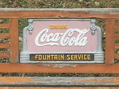 Vintage Orig. Coca Cola Advertising Park Bench Cast Iron Fountain Service Sign