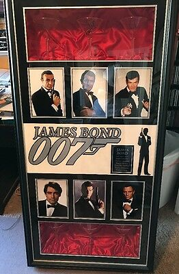 James Bond Signed Martini Autograph Framed COA Sean Connery Roger Moore All 6