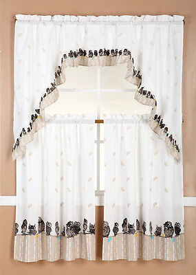 owls  KITCHEN WINDOW CURTAIN TREATMENT TIERS AND SWAG COUNTRY STYLE 3PC SET
