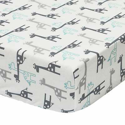 Uptown Giraffe Fitted Crib Toddler Grey Mint Aqua Sheet by The Peanut Shell