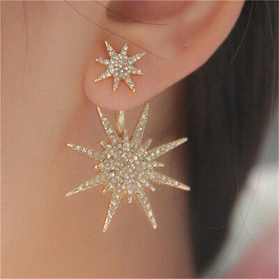 Fashion Women Lady Crystal Rhinestone Dangle Gold Star Ear Stud Earring Jewelry