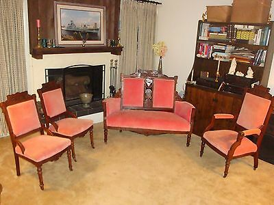 Charles Eastlake Victorian Parlor/Salon Four Piece Set Furniture ANTIQUE