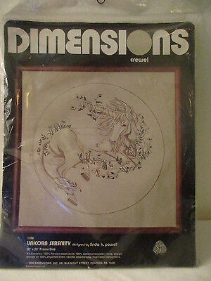 "DIMENSIONS UNICORN SERENITY 1980 crewel embroidery kit 20"" X 20"" frame NIP #1169"