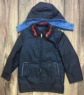 Vintage Sears Boys Size 10 Jacket Coat Parka Navy Blue Faux Fur Lining Boyswear