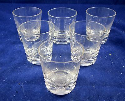 Lot of 6 Vintage Cut Crystal Etched Wheat Old Fashioned Cocktail Glasses