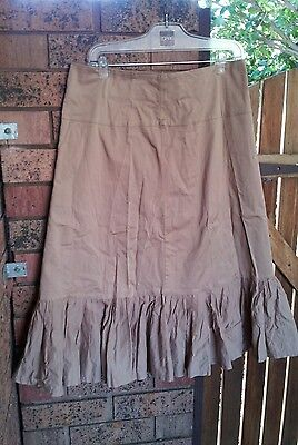 FLOWER nude beige brown maternity midi skirt ruffle hem size 14 EUC 100% COTTON