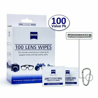 100CT Zeiss Pre-Moistened Lens Cloths Wipes Screen Glasses Camera Phone Cleaning