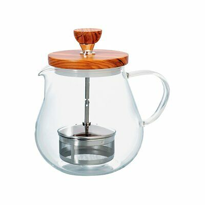 Hario Teioru Wood 700 ml TEO-70-OV Olive Tea Pot Pull Up Strainer from JAPAN
