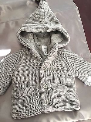 babyGap hooded knit jacket with buttons gray 0-3 months