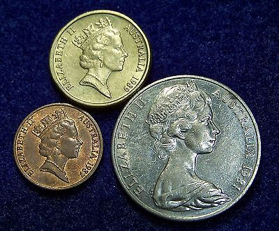 Australia Group of 3 Coins, 1981 20C., 1987 1C., 1989 2 Dollar, Uncirculated