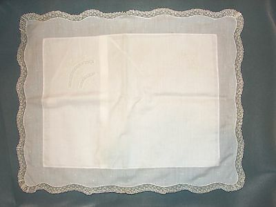 Feltman Brothers White Batiste Lace Edge Embroidered Pillow Case ~ New