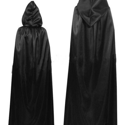 Black Deluxe Hooded Cloak Cape Long Vampire Halloween Fancy Dress