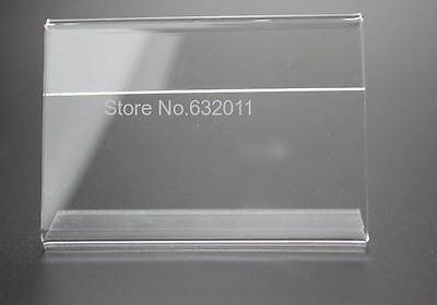 Clear 6x4cm Acrylic Plastic Table Sign Label Display Paper Promotion Card Holder