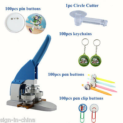 "2016 New Pro 1"" 25mm Pin Badge Button Maker Machine +Buttons+ Keychains+Cutter"