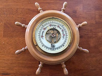 Vintage Collectable Barometer Western Germany Maritime Ship Wheel Man Shed