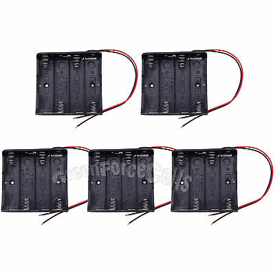 5 pcs 4 AA 1.5V Battery Cells Plastic Holder Storage Case Box Wired US Stock