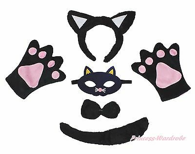 Black Cat Halloween Headband Bow Tail Paw Mask 5p Unisex Child Kid Party Costume