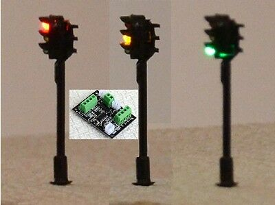 2 X N Scale 35mm TRAFFIC R/Y/G SIGNAL Street Lights + 1 Control Board 4-20V