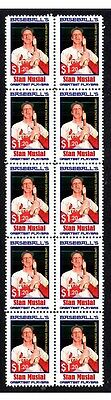 Stan Musial Baseballs Greats Strip Of 10 Mint Stamps