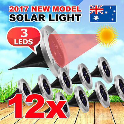 12X LED Solar Powered Buried Inground Light Recessed Outdoor Garden Deck Path