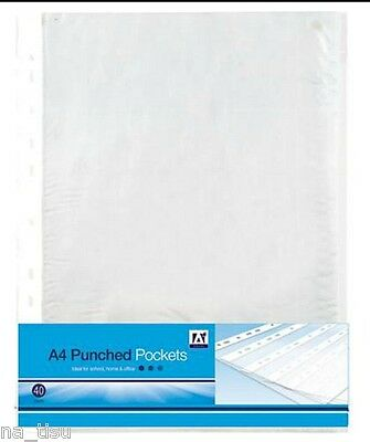 40 CLEAR PLASTIC PUNCHED POCKETS A4 WALLETS SLEEVES FILING certificates papers
