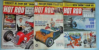 Hot Rod Magazines Lot - March, April, May 1962, Chevy II, Mopar 413, 406 Ford